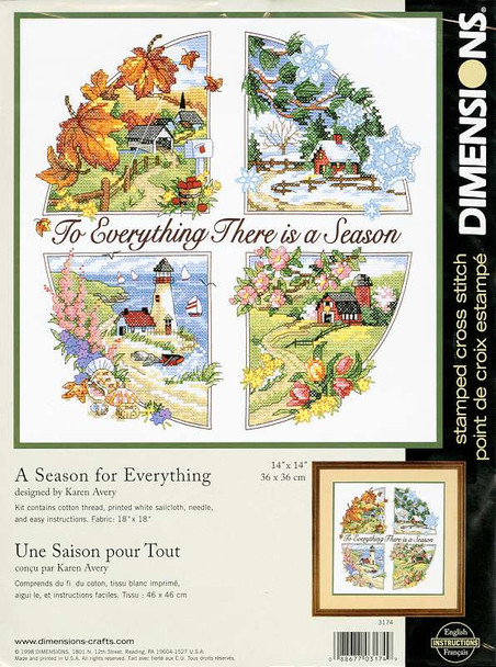 """A Season For Everything Stamped Cross Stitch Kit 14""""X14"""""""