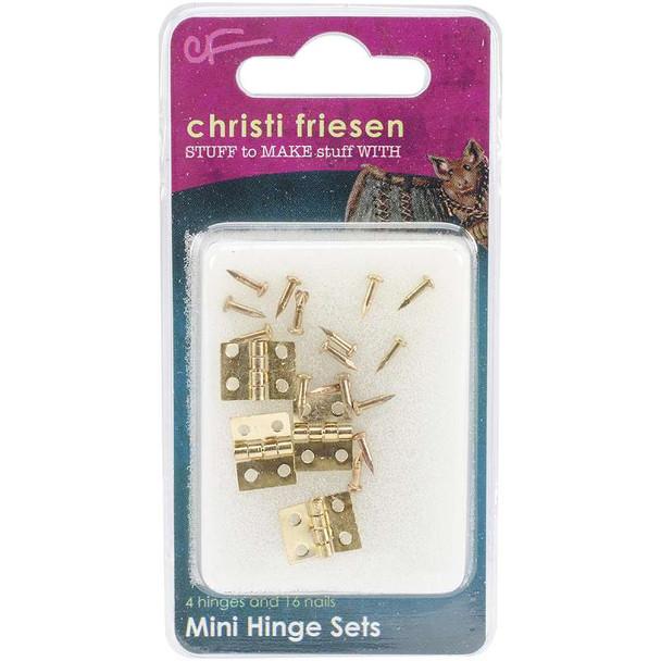 Christi Friesen Mini Hinges 4/Pkg Brass