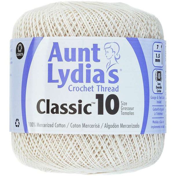 Aunt Lydia's Classic Crochet Thread Size 10 Antique White