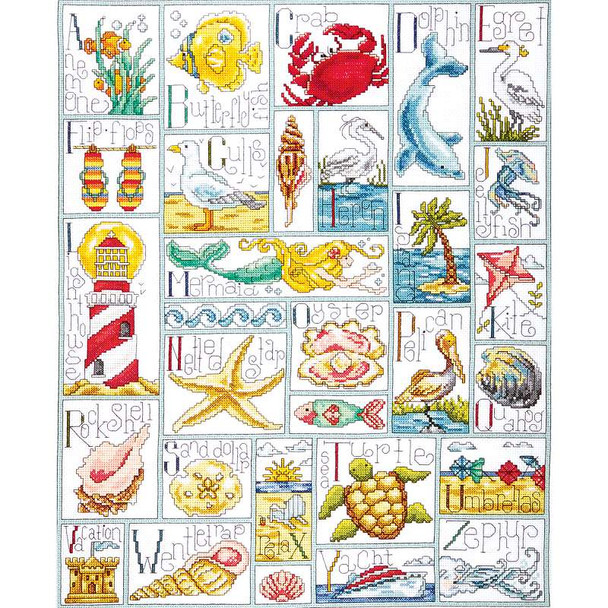 """Ocean ABC Counted Cross Stitch Kit 16""""X20"""" 14 Count"""