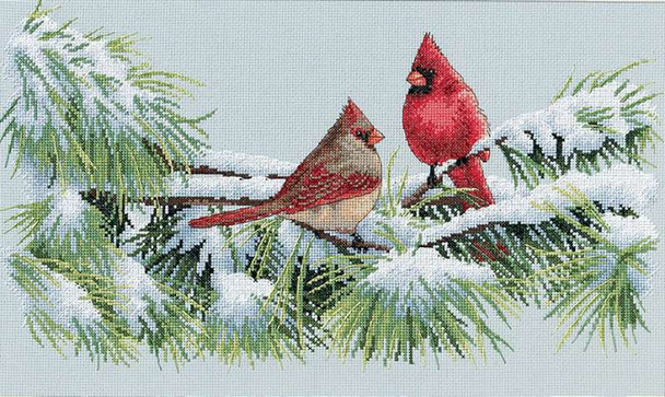 """Winter Cardinals Counted Cross Stitch Kit 15""""X9"""" 16 Count"""