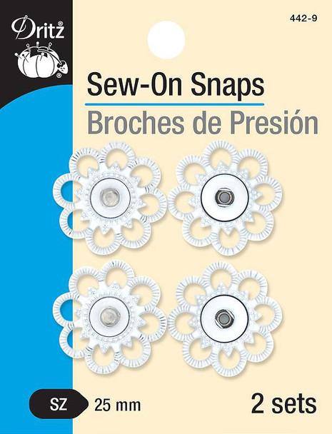 Dritz Sew-On Snaps - Flower Shape 25mm 2/Pkg White