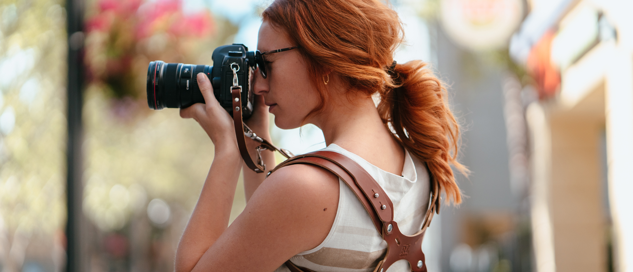Large, Coffee Sling /& Strap RL Handcrafts DLSR Mirrorless Rebel Dual Handmade Leather Camera Harness Point /& Shoot Made in The USA