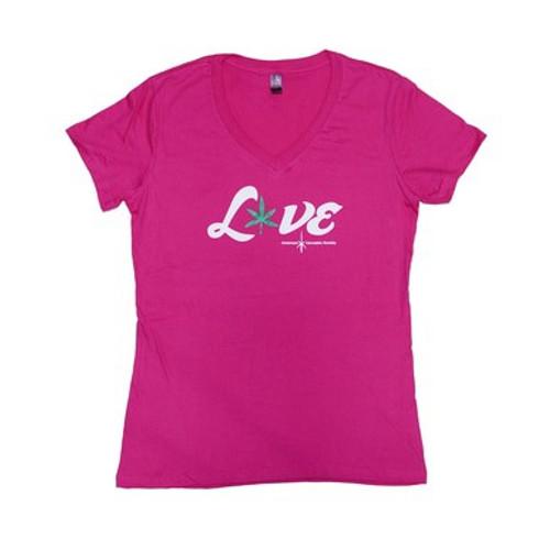 Large Love Weed Pink Shirt