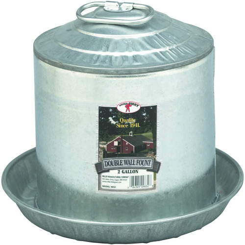 Miller Double Wall Metal Poultry Fountain 2 Gallon