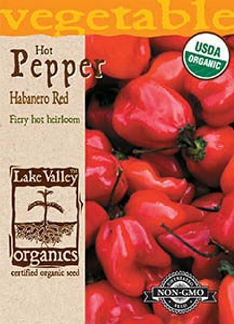Lake Valley Pepper (Hot) Habanero Red Organic Seed