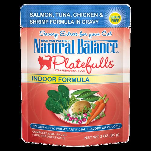 Natural Balance Indoor Platefuls Salmon, Tuna, Chicken & Shrimp, 3oz