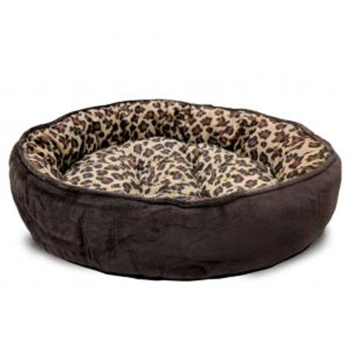 Ethical Pet Sleep Zone Cheetah Round Napper, Chocolate