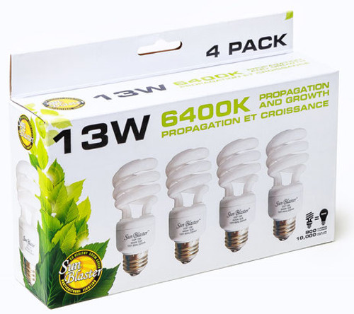 SunBlaster 13 Watt CFL Grow Lamp, 4 Pack