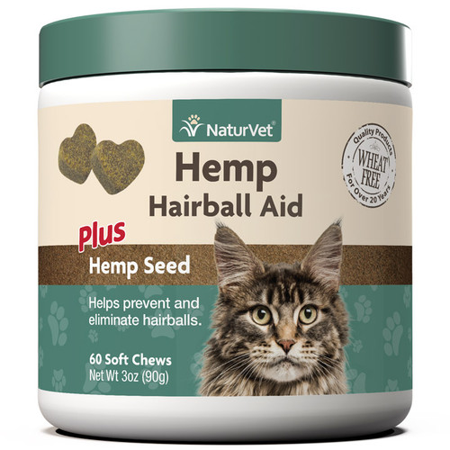 NaturVet Hemp Cat Hairball Aid Soft Chew, 60ct