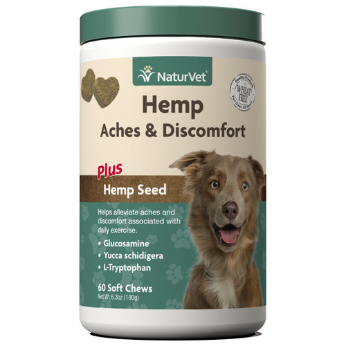 NaturVet Hemp Aches & Discomfort Soft Chews, 60ct