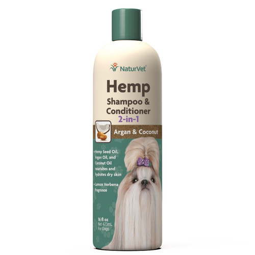 NaturVet Hemp Shampoo & Conditioner 2 in 1, 16oz