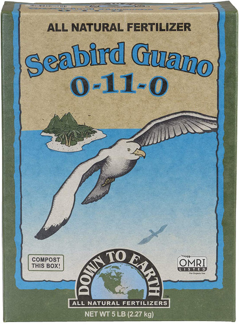 Down to Earth All Natural Seabird Guano Fertilizer Mix 0-11-0, 5 lb