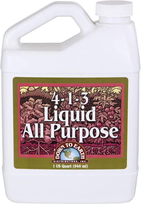 Down To Earth All Purpose Liquid Fertilizer 4-1-3, 1 Quart