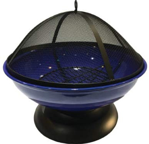 Harbor Gardens  Blue Enameled Fire Bowl/Pit Sphere, Powder Coated Steel