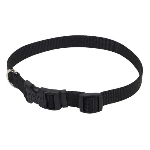 "Tuff Nylon Adjustable Collar 5/8"" Black, 10-14in"