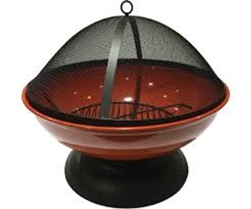 Harbor Gardens Red Enameled Fire Bowl/Pit Sphere, Powder Coated Steel