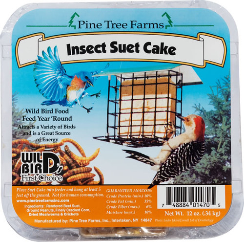 Pine Tree Farms Insect Suet Cake ,12oz