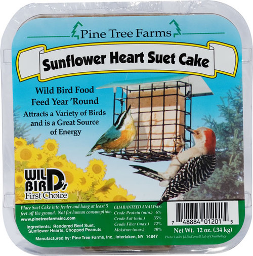 Pine Tree Farms Sunflower Suet Cake Heart ,12oz
