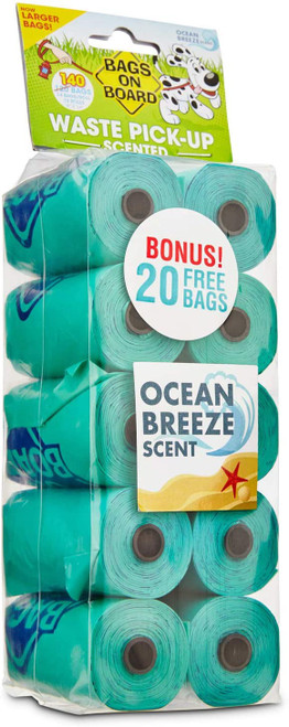 Bags On Board Ocean Breeze Scented Dog Waste Bags, 140pc