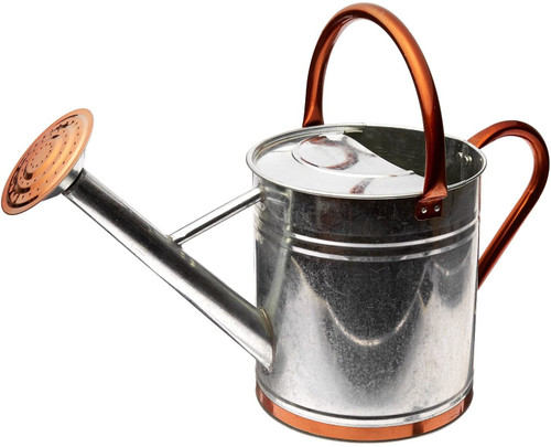 1.9 Gallon Galvanized Watering Can with Copper Accents