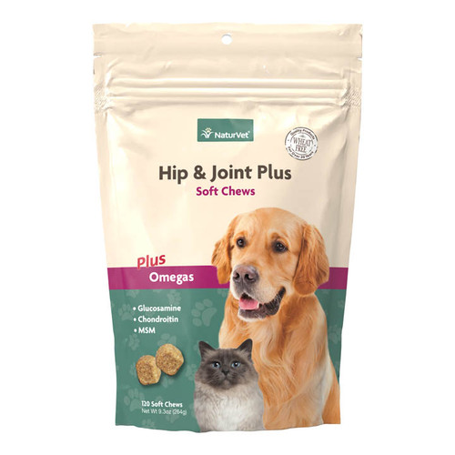 NaturVet Hip & Joint Plus Soft Chew Bag, 120ct