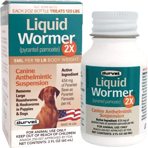 Durvet 2x LIquid Wormer, For Puppies and Adult Dogs
