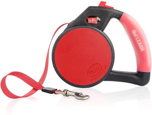 WIGZI Durable Gel Handle Comfort Grip Retractable Dog Leash, Red