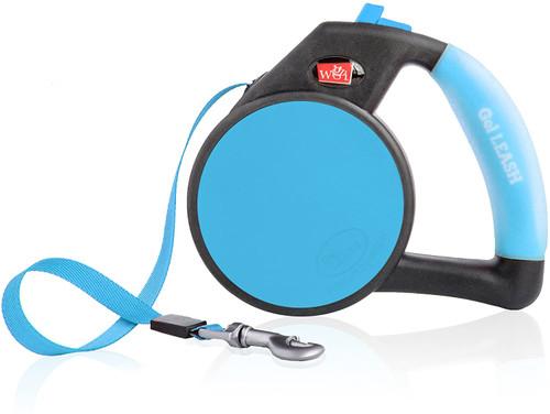 WIGZI Durable Liquid Filled Gel Handle Comfort Grip Retractable Dog Leash, Blue
