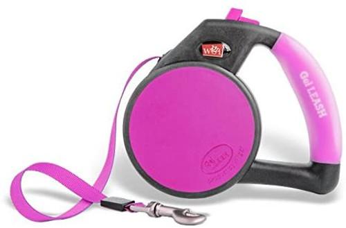WIGZI Durable Gel Handle Comfort Grip Retractable Dog Leash, Pink