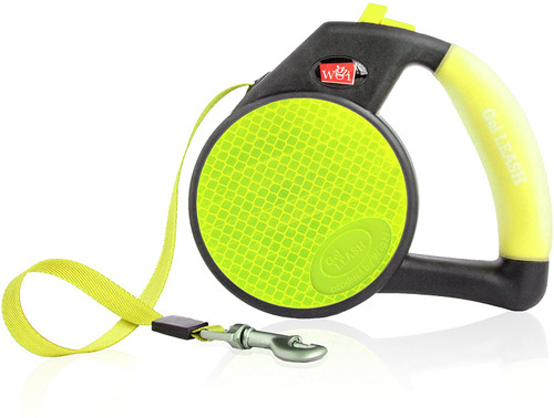 WIGZI Durable Gel Handle Comfort Grip Retractable Dog Leash, Yellow