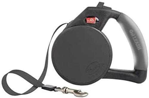 WIGZI Durable Gel Handle Comfort Grip Retractable Dog Leash, Black