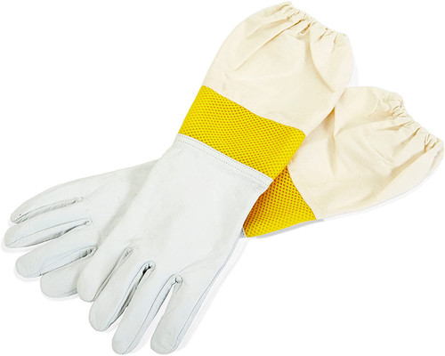 Little Giant Goatskin Protective Gloves for Beekeeping, Med