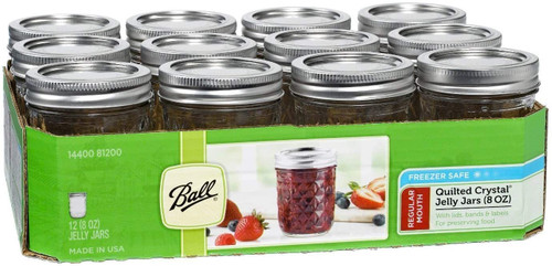 Ball Quilted 8oz Jelly Jar, 12 pack
