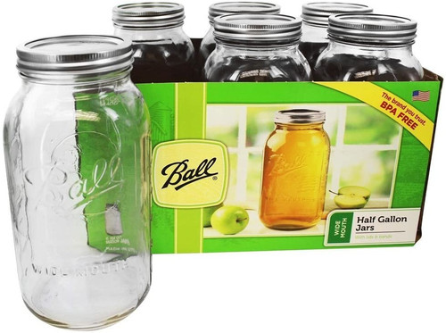 Ball Half Gallon Wide Mouth Jar, 6 pack