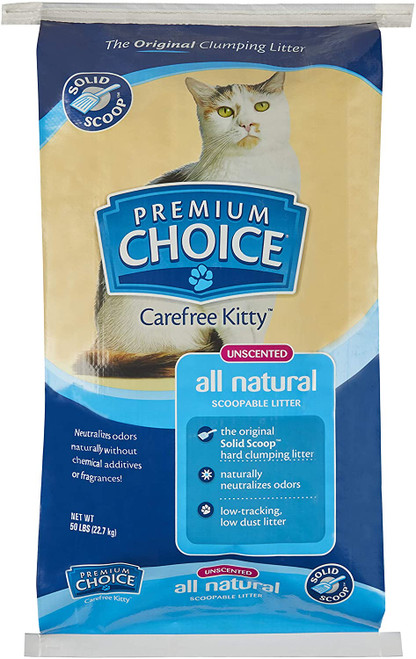 Premium Choice All Natural Scoop-able  Cat Litter Unscented, 50lb