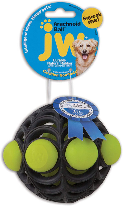 JW Arachnoid Ball Squeaker Ball Toy