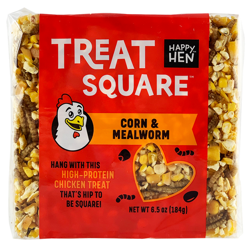 Happy Hen Treats, Square, Corn and Mealworm, 6oz