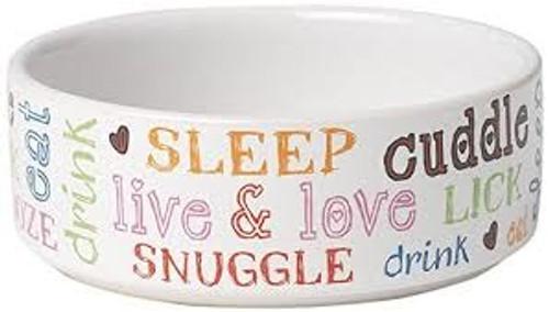 Petrageous Doodle Pet White Multi Bowl, 2 cup