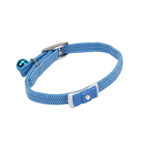 "Li'l Pals Elasticized Safety Kitten Collar with Jeweled Bow, Light Blue, 3/8"" X 08"""