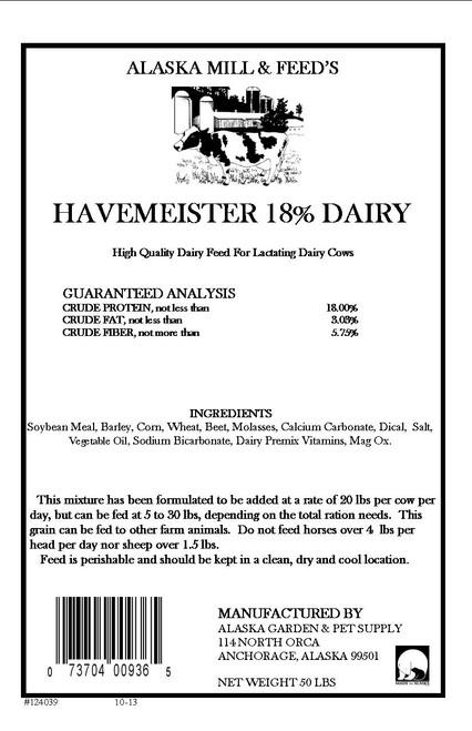 18% Havameister Dairy Feed, Pellets  50lb