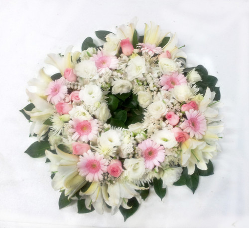Pink and White Memorial Urn Wreath