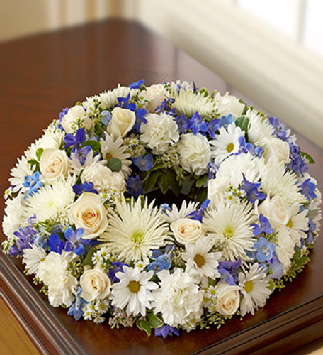 Blue & White Picture Memorial Wreath
