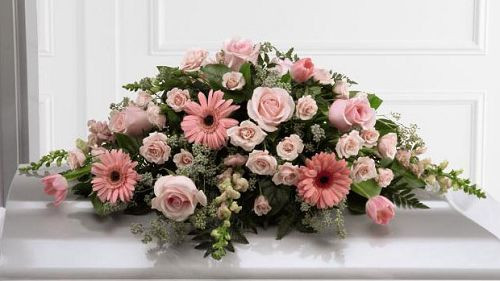 Soft Pink & White Memories Casket Spray