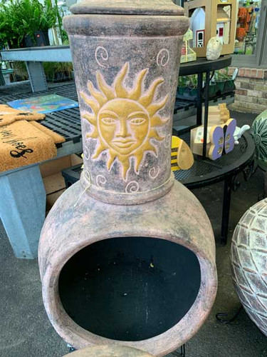 Sun Chiminea with Stand and Lid