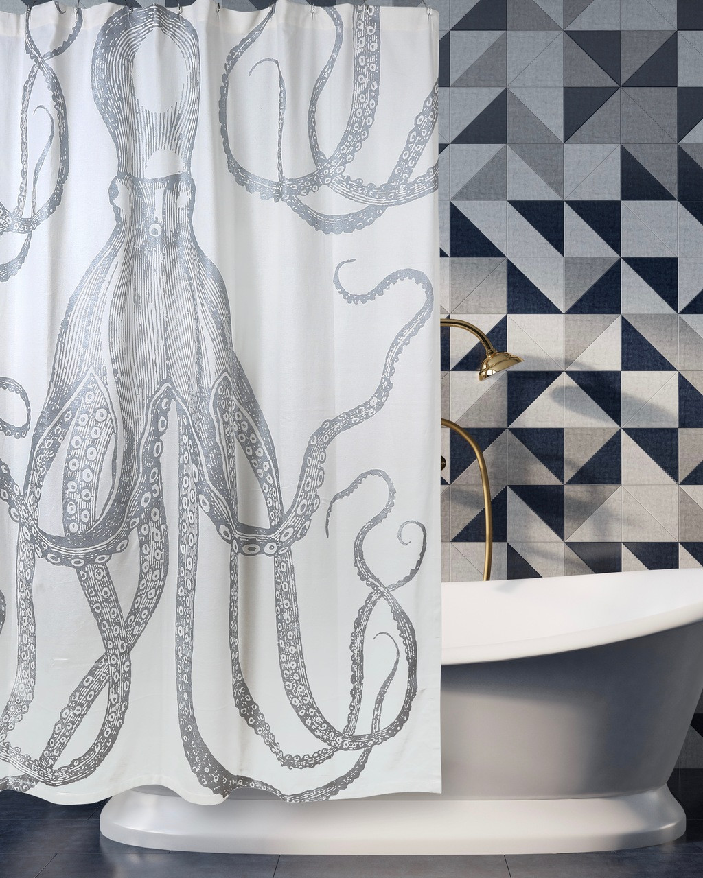 Octopus Silver Metallic Shower Curtain