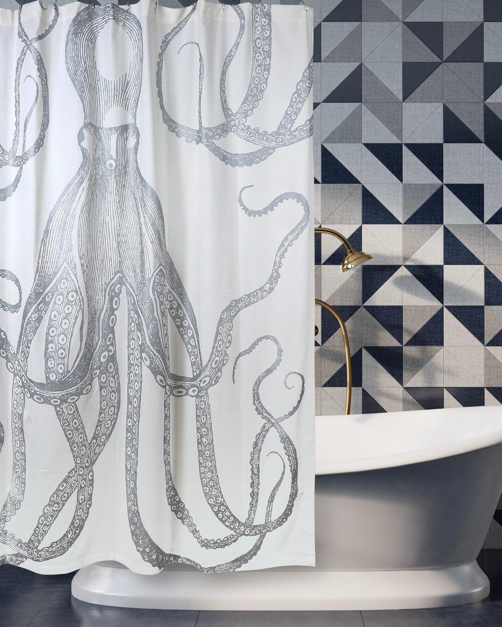Octopus Silver Metallic Shower Curtain