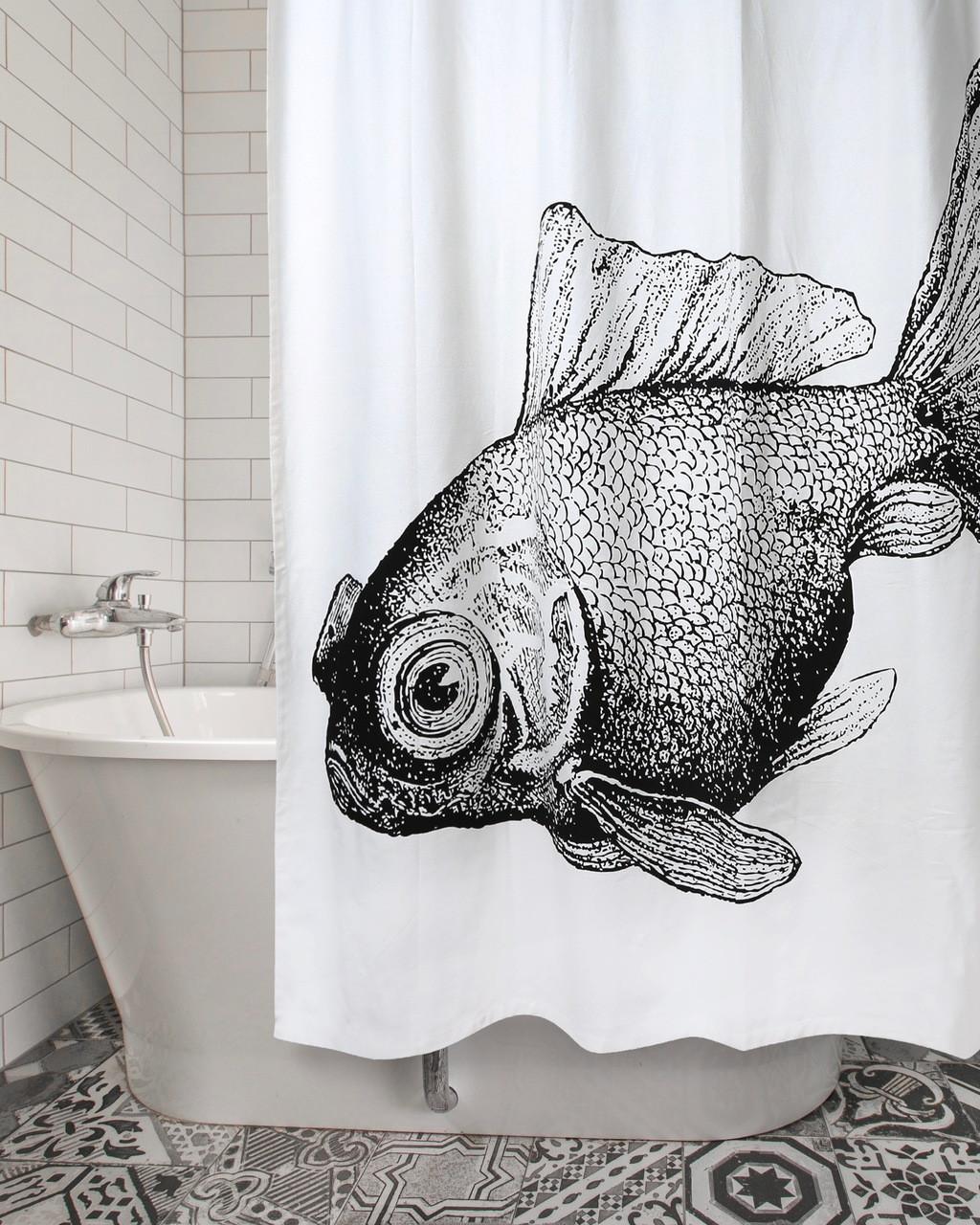 Goldfish Shower Curtain Ebony