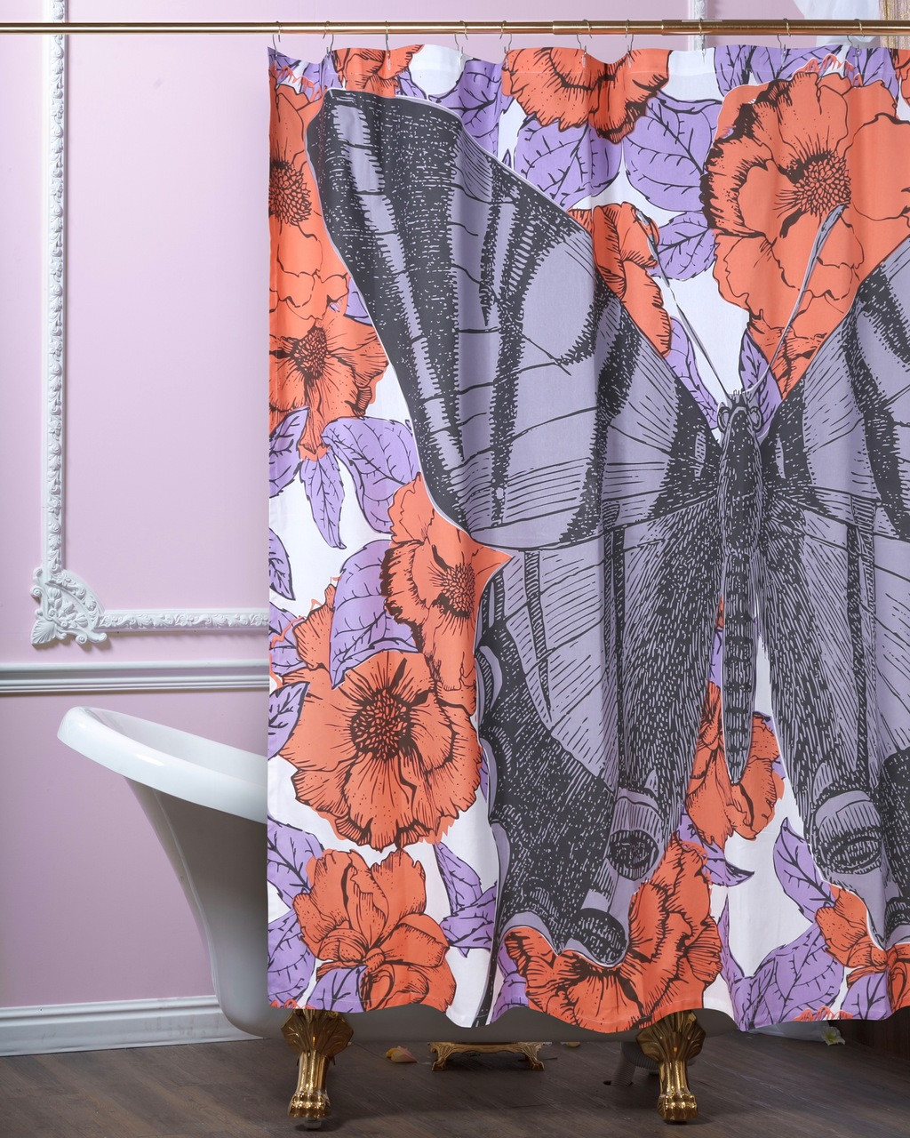 Butterfly Floral Shower Curtain Lavender