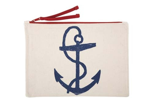 Anchor Sketch Canvas Pouch - Navy